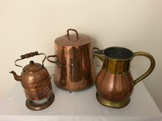 Red copper extinguisher, red/yellow copper jug and a red copper chafing dish