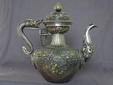 A Fine Tibetan Silver and Parcel-Gilt Teapot / Marked - Tibet - Late 19th century