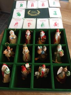 Christmas tree decoration: 12 different hand-painted porcelain figurines