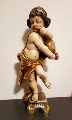 Angel putto wooden figure - Germany 42 cm