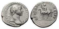 Roman Empire - TRAJAN (98-117 AD), AR Denarius (Trajan on horseback) - 20mm; 3.30g - RIC 291