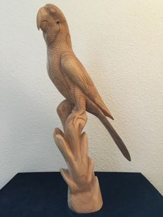 Ara Chloroptera (green-winged macaw) carved from one piece of lime wood