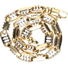18 kt - Bi-colour, yellow/white gold link bracelet - length: 22 cm