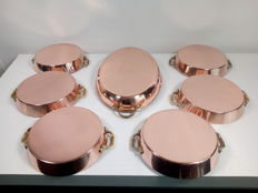 Lot of 6 French sauce / oven dishes - copper - stainless steel - yellow copper / brass handles and oval fish platter