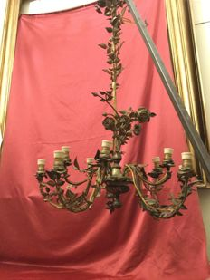 10-light bronze chandelier - Italy - ca. 1870