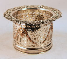 Antique Silver Plate Pierced Bottle Holder With Decorative Engravings, England C.1910