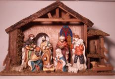 Very large Nativity scene with 10 large hand-painted biscuit porcelain figures