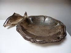 Silver plated napkin holder in fish shape and large scale on three legs