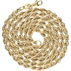 14 kt - Yellow gold twisted link necklace - Length: 55 cm