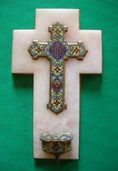 Cross-shaped stoup in marble, bronze and enamel