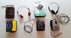 4 four retro, vintage Walkmans (cassette players) from Sony and General Electric + 2 two headsets