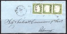 Sardinia, 1863 – 5 c., olive green, strip of 3 used on letter from Messina to Palermo – Sass. No. 13Dc