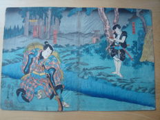 "Original woodblock print by Utagawa Kuniyoshi (1798-1861) - ""Kampei and Sadakure"" - Japan - 1851"