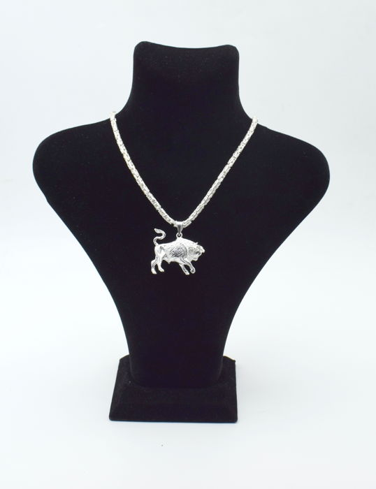 925 Italian sterling silver chain with Taurus pendant - 60 cm