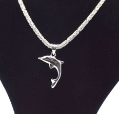 925 Italian sterling silver chain with Dolphin pendant - 60 cm