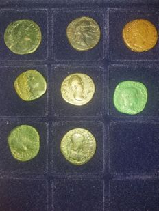 Roman Empire - Lot of 8 Sestertii (various emperors and wives) x 8