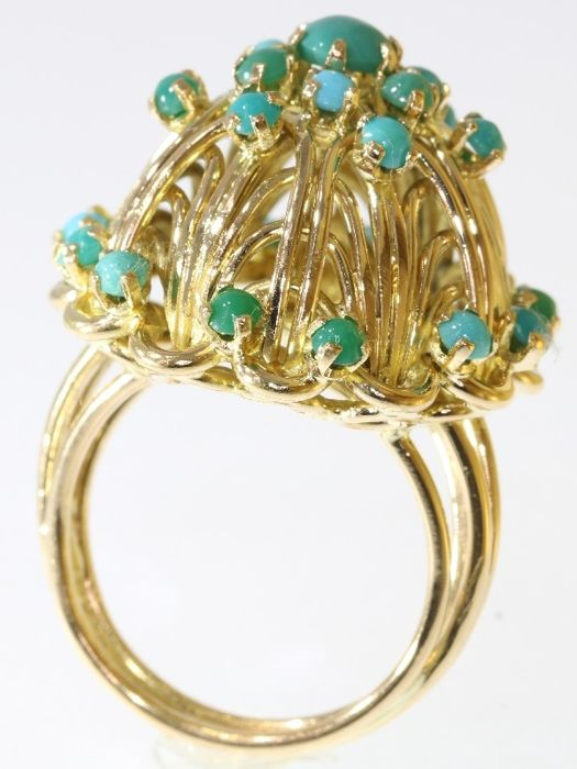 Vintage fifties Cocktail ring set with natural Turquoises, Free Resizing, circa 1950