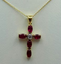 14Ct Yellow Gold Chain & Cross with Ruby and Diamond, Total 3.40g,  Chain 45 cm, Cros 2.7x1.5 cm