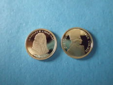 Alderney – 1 pound 2005/2008 'Charles II' & 'Nelson' (2 pieces) – 2 x 1/25oz gold