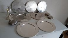18 Silver plated under plates and silver plated coasters, two candle stands and a oyster shell Sheffield