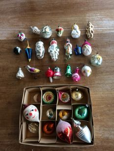 Old antique, vintage glass Christmas baubles