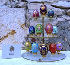 "House of Fabergé (45 cm / 3 kg) - Collection ""The Imperial Egg Collection"" - Porcelain - Gold paint 22 k - Signed - Certificate of Authenticity - Rare!!!"
