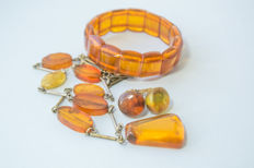 Set of Natural Baltic Amber bracelet, necklace and earrings in honey colour Amber, 55 gram