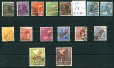 Berlin red overprint from 1949 Michel no.21-34 including 26 a and b (complete set)