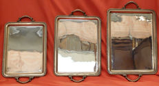 Masterly set of 3 serving trays in sterling silver - 3,490 grams