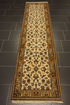 Splendid hand-knotted Indo Qom runner 75X 270 cm Made in India