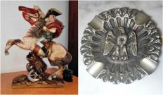 Napoleon Statue (Napoléon traversant les Alpes au col du Saint-Bernard ) and French Imperial eagle carved iron ashtray