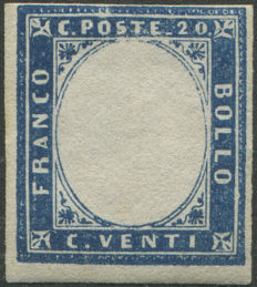Sardinia 1860 - 20 cent.  indigo with embossed effigy - Bolaffi No.  12B
