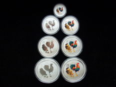 Australia - Lunar II Year of the rooster - 999 silver, 2 x 2 oz + 2 x 1 oz + 2 x 1/2 oz - silver + coloured silver + Rarity: 1/4 oz first issue