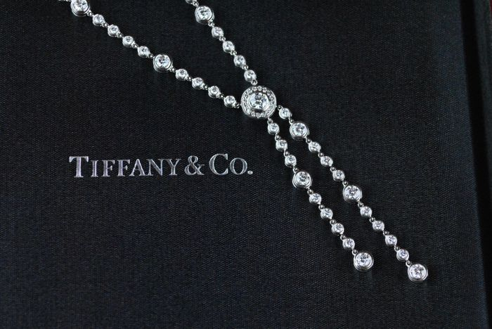 "Exclusive TIFFANY&CO ""Swift"" Necklace with 126 Brilliant Cut Diamonds (Total +/-4.05CT) set on Platinum 950"