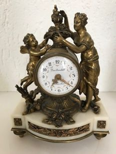 Bronze gold-plated Louis Seize miniature mantel clock - France - circa 1850