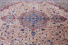 Rare, fine Persian carpet Kashmar 3.82 x 3.06 cappuccino brown hand-knotted oriental carpet TOP CONDITION