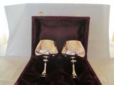 Two Beautiful Silver plated Cognac Goblets