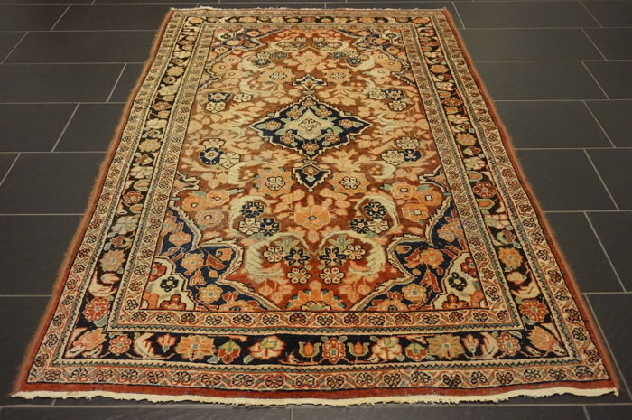 Valuable antique hand-knotted Art Nouveau Persian carpet American US Sarouk Made in Iran 130 x 210 cm