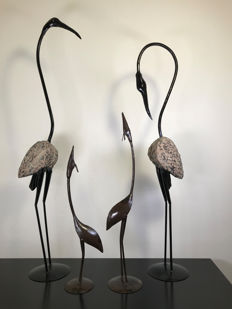 Four very large metal, hand-forged birds, 2nd half of the 20th century
