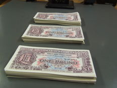 Great Britain - military money - 300 x 1 pound 1948 - Pick M22 - consecutive serial numbers