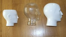 A glass head, two ceramic heads, 1 of which a flower pot, Netherlands, 1970s