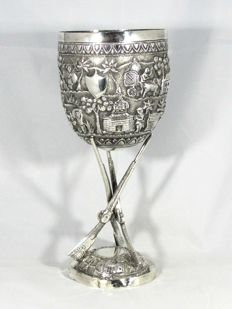 British indian silver shooting trophy, 1800's