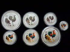 Australia - Lunar II - Year of the rooster - 999 silver 2 x 2 oz + 2 x 1 oz + 2 x 1/2 oz of silver + coloured silver - Rarity - 1/4 oz - first issue