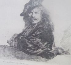 After Rembrandt Harmensz van Rijn (1606-1669) - Self-portrait leaning on a stone sill 1639 - 20th century -  Handprinted by R. de Boer