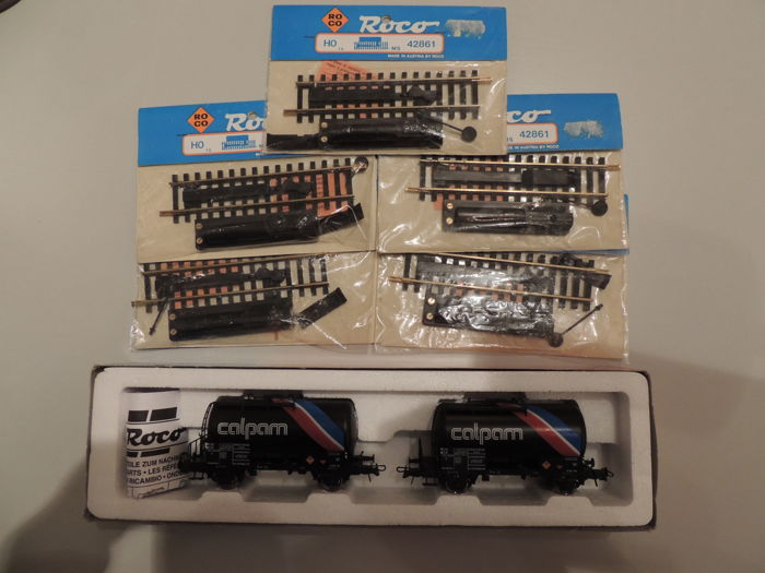 Roco H0 - 44186/42861 - Calpam tank car set en 5 x Uncoupling rail electric