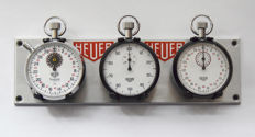 3x HEUER Rattrapante rally timer -  stopwatch - mounting plate - suitable for historic motor sports