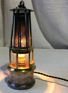 Brass and iron lamp, mid-20th century