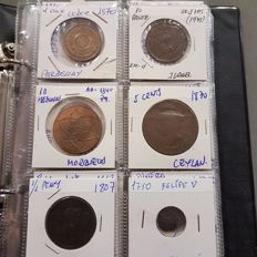 World - Lot with various coins (48 pieces) + album - Copper and bronze