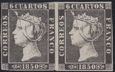Spain 1850 - Isabel II  6 black quarters.  Pair new stamps.  Graus Certificate. Plate II type 11 and 12 - Edifil 1A