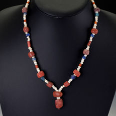 Necklace with Roman glass and shell beads - jewellery gift box included